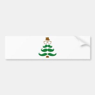 Christmas Mustache Tree Bumper Stickers