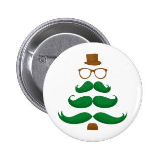 Christmas Mustache Tree Pinback Buttons