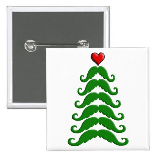 Christmas Mustache Tree Pinback Button