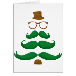 Christmas Mustache Tree Card