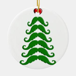 Christmas Mustache Tree Ceramic Ornament