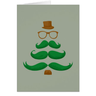 Christmas Mustache Tree Hipster Card