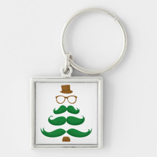 Christmas Mustache Tree Silver-Colored Square Keychain