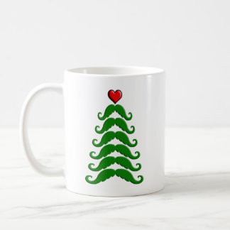 Christmas Mustache Tree Mugs