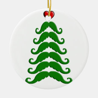 Christmas Mustache Tree Double-Sided Ceramic Round Christmas Ornament