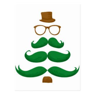 Christmas Mustache Tree Postcard