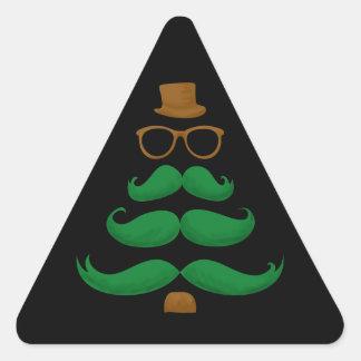 Christmas Mustache Tree Triangle Sticker