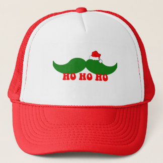 Christmas mustache trucker hat