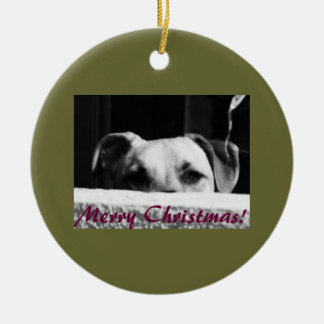 Christmas Mutt Double-Sided Ceramic Round Christmas Ornament