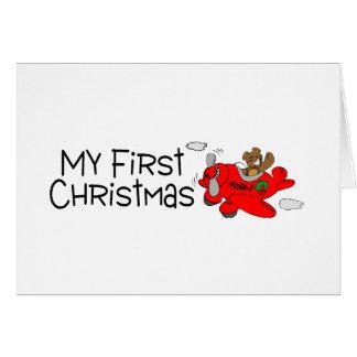 Christmas My First Christmas (Bear and Plane) Greeting Card