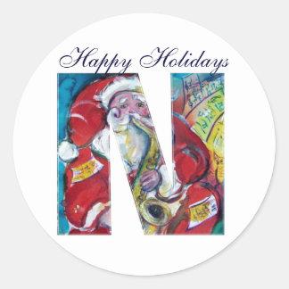 CHRISTMAS N LETTER / INSPIRED SANTA MONOGRAM CLASSIC ROUND STICKER