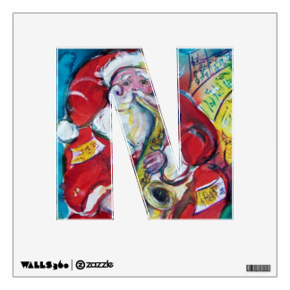 CHRISTMAS N LETTER /SANTA AND SAX, CHRISTMAS PARTY ROOM DECAL