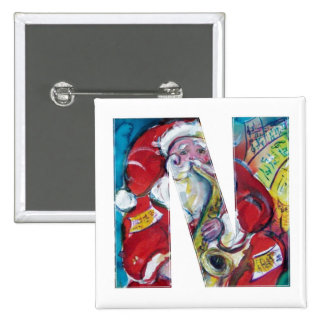 CHRISTMAS N LETTER /SANTA AND SAX MONOGRAM 2 INCH SQUARE BUTTON