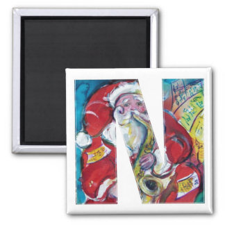 CHRISTMAS N LETTER /SANTA AND SAX MONOGRAM 2 INCH SQUARE MAGNET
