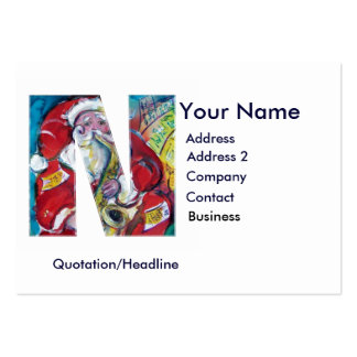 CHRISTMAS N LETTER / SANTA CLAUS WITH SAX LARGE BUSINESS CARDS (Pack OF 100)