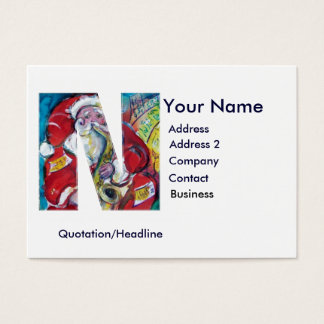 CHRISTMAS N LETTER / SANTA CLAUS WITH SAX BUSINESS CARD