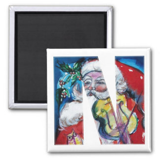 CHRISTMAS N LETTER / SANTA  WITH VIOLIN MONOGRAM 2 INCH SQUARE MAGNET