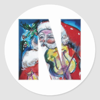 CHRISTMAS N LETTER  / SANTA WITH VIOLIN MONOGRAM ROUND STICKERS