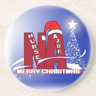 CHRISTMAS NA  NURSE AIDE SANTA COASTERS FROST BLUE