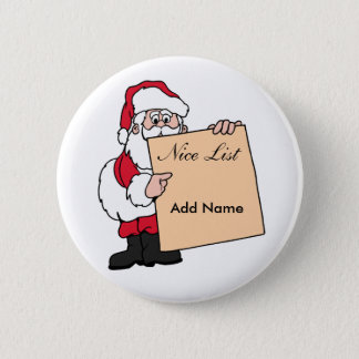 Christmas Name Tag Santa Claus Nice List Button