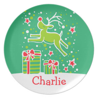 Christmas named green red fun reindeer plate