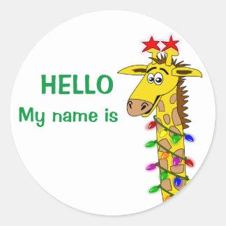 Christmas Nametag Stickers Funny Giraffe w/ Lights