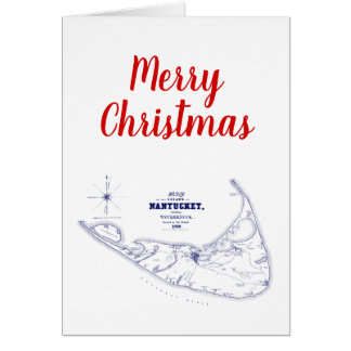 Christmas Nantucket Island Vintage Map Navy Blue Card