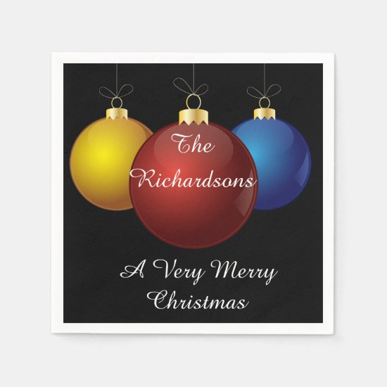 Christmas Napkins - Personalized, Christmas Balls