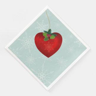 Christmas napkins with heart shape and snowflake