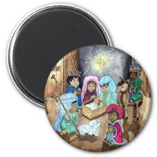 Christmas Nativity 2 Inch Round Magnet