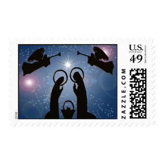 Christmas nativity blue modern stamp