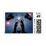 Christmas nativity blue modern stamp