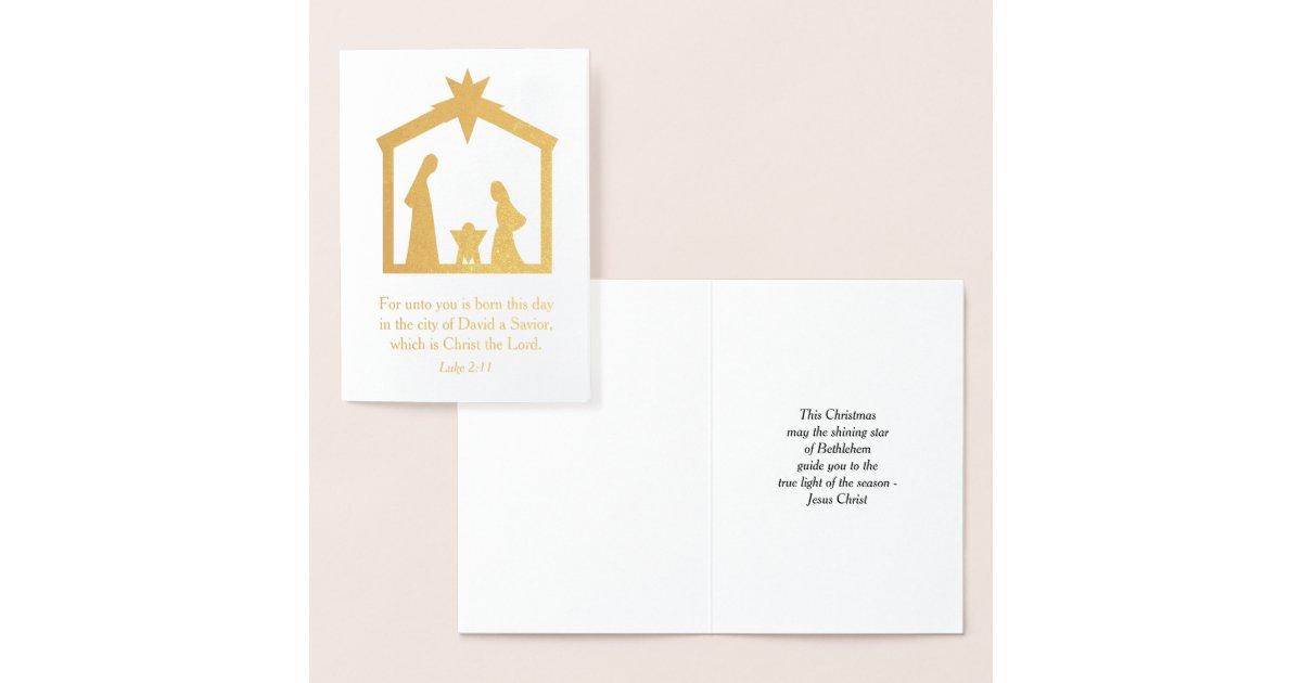 Christmas Nativity Christian Religious Jesus Foil Card | Zazzle.com