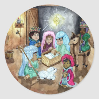 Christmas Nativity Classic Round Sticker