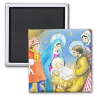 Christmas, Nativity, manger, newborn Jesus Magnet