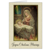 Christmas Nativity Mary Jesus in Manger Card
