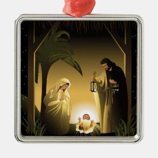 Christmas Nativity Mary, Joseph and Baby Jesus Metal Ornament
