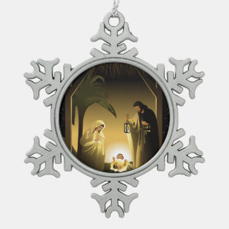 Christmas Nativity Mary, Joseph and Baby Jesus Snowflake Pewter Christmas Ornament
