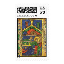 CHRISTMAS NATIVITY PARCHMENT WITH GOLD FLORAL POSTAGE