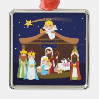 Christmas Nativity Scene Square Metal Christmas Ornament