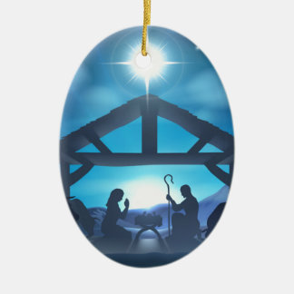 Christmas Nativity Scene Double-Sided Oval Ceramic Christmas Ornament