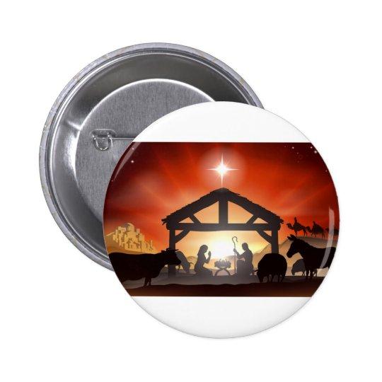 Christmas Nativity Scene Pinback Button