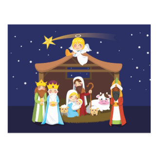 Christmas Nativity Scene Postcard