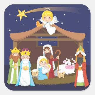 Christmas Nativity Scene Square Sticker