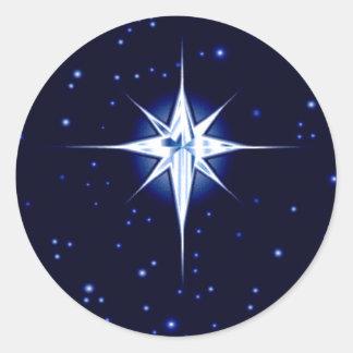 Christmas Nativity Star Classic Round Sticker