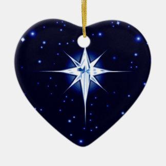 Christmas Nativity Star Double-Sided Heart Ceramic Christmas Ornament