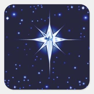 Christmas Nativity Star Square Sticker