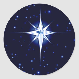 Christmas Nativity Star Round Stickers