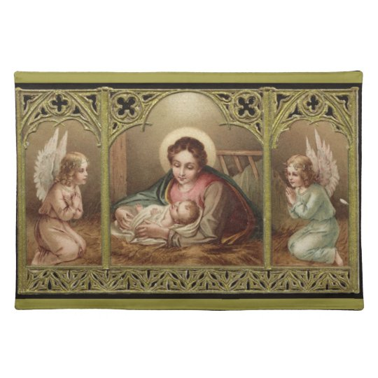 Christmas Nativity Virgin Mary Jesus Angels Cloth Placemat