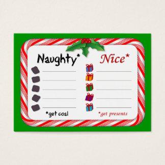 Christmas Naughty and Nice Checklist Business Card
